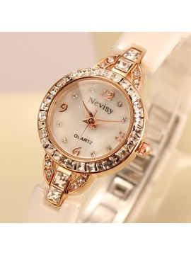 Rhinestone Decorated Round Dial Watch
