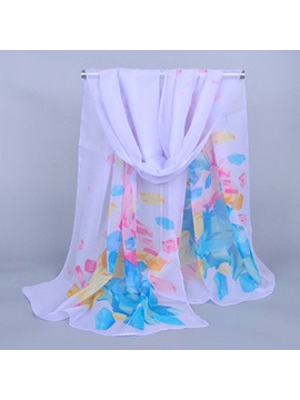 Concise Floral Print Chiffon Scarf