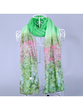 Gradient Flowers Voile Scarf