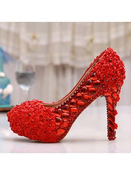 Red Applique Platform Stiletto Heel Wedding Shoes