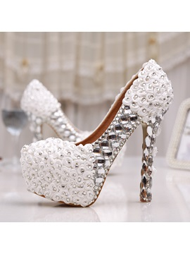 Applique Crystal Stiletto Heel Bridal Shoes
