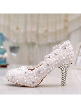 Beading White Applique Bridal Shoes