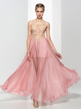 Chic Round Neck Appliques Sequins A Line Prom Dress
