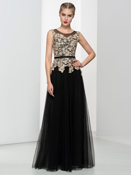 A Line Straps Lace Button Long Black Evening Dress