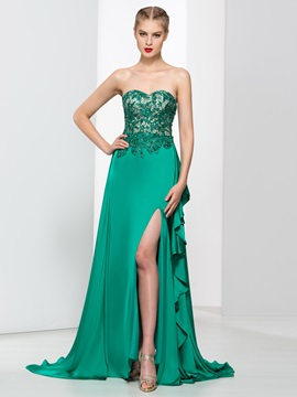 Fashionable Sweetheart Split Front Beading Lace Evening Dress