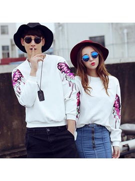 Embroidery Butterfly Decorated Couple Hoodie (price For A Pair)