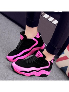 Color Block Letters Printed Lace Up Sneakers