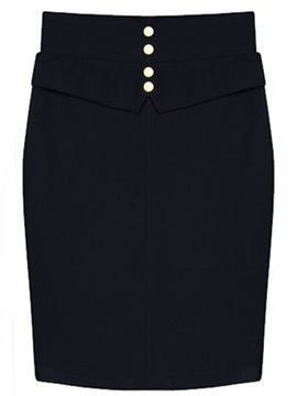 Ol Button Slit Chic Skirt
