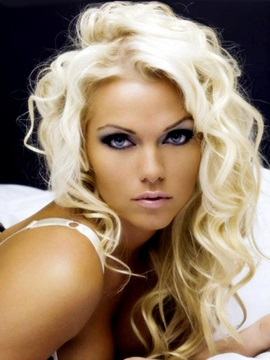 Long Curly Blonde Human Hair Full Lace Wig 16 Inches