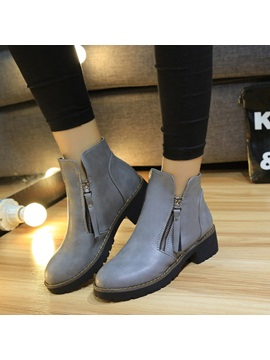 Solid Color Side Zipper Round Toe Moto Boots