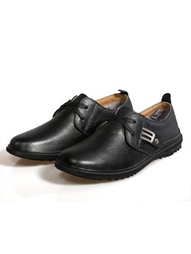 Black Buckles Plain Toe Casual Shoes