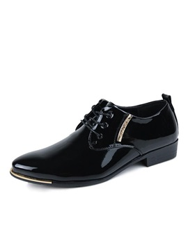 Pointed Toe Pu Lace Up Mens Dress Shoes