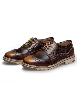 Gradient Color Lace Up Mens Brogue Shoes