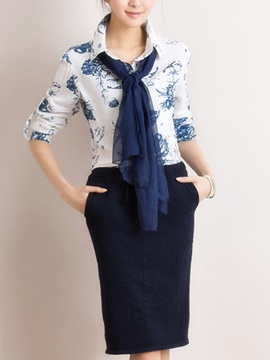 Elegant Printing Shirt With Scarf Bodycon Skirt