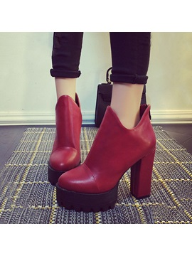 Solid Color Chunky Heel Platform Booties