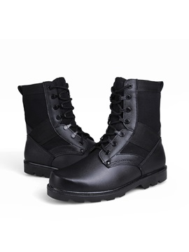 Black Round Toe Lace Up Mens Boots