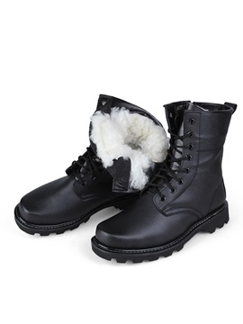 Black Round Toe Lace Up Mens Moto Boots