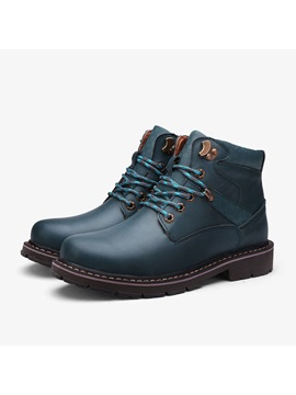 European Round Toe Front Lace Up Martin Boots
