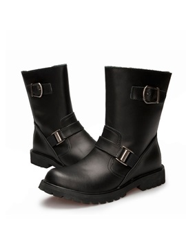 Round Toe Buckles Zippered Mens Moto Boots