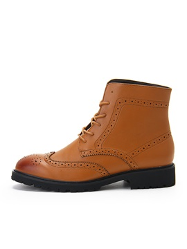 Round Toe Front Lace Up Mens Brogue Boots