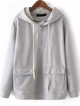 Big Pocket Zipper Short Hoodie