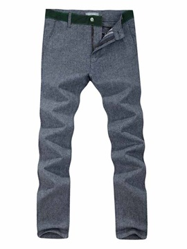 Mens Solid Color Slim Fit Cotton Pants
