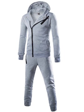 Mens Plain Zipped Up Hood Pockets Suits