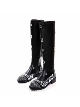 Crystal Round Toe Zippered Knee High Boots