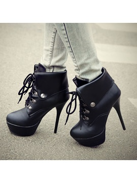 Solid Color Fold Over Stiletto Heel Booties