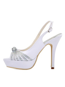 Rhinestone Peep Toe Slingback Wedding Shoes