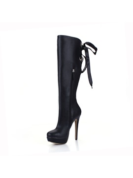 Black Pu Back Lace Up Knee High Boots