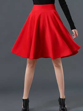 Solid Empire Waist Expansion Knee Length Skirt