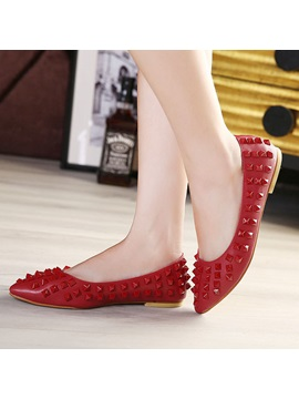 Rivets Pointed Toe Slip On Womens Flats