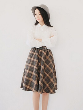 Plaid Mid Waist Belt Mini Skirt