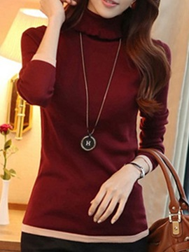 Simple High Collar Slim Sweater