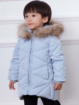 Solid Color Fur Collar Zip Girls Overcoat
