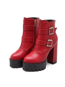 Pu Buckles Chunky Heel Ankle Boots