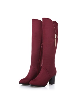 Suede Chunky Heel Side Zip Knee High Boots