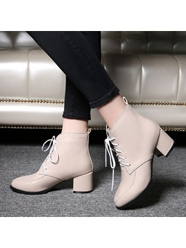 Pu Thread Chunky Heel Lace Up Booties