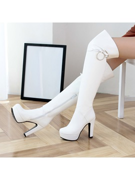 Solid Color Deco Ring Thigh High Boots