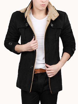 Mens Solid Color Lined Block Flocking Hooded Jackets