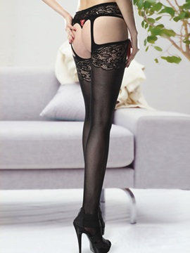 Black Embroidery Stockings For Women