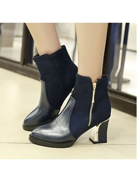Pu Patchwork Chunky Heel Zippered Booties
