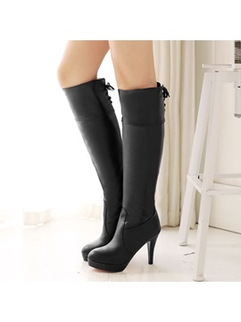 Solid Color Platform Knee High Boots
