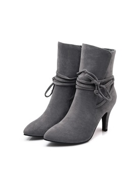 Solid Color Lace Up Back Suede Booties