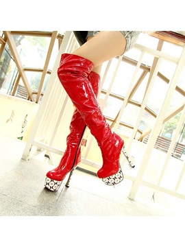 Printed Sole Stiletto Heel Thigh High Boots