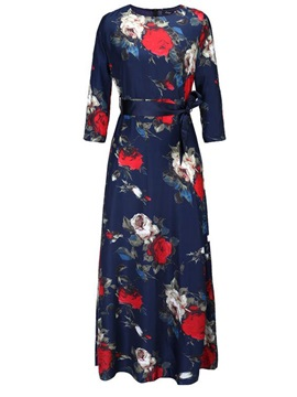 3 4 Sleeve Print Belt Dress