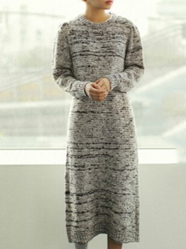 Round Neck Long Sleeve Sweater Dress