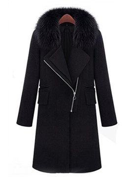 Warm Collar Sloping Overcoat