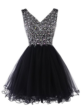 Shiny V Neck A Line Beaded Short Black Cocktail Dress